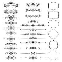 Set di elementi di design floreale, cornici ornamentali vintage con corone vettore