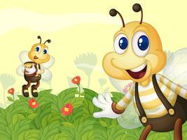 Api da miele nel giardino vettore