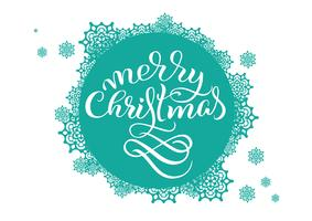 Sfondo rotondo turchese con fiocchi di neve su bianco e il testo Buon Natale. Illustrazione vettoriale EPS10. Lettering calligrafia