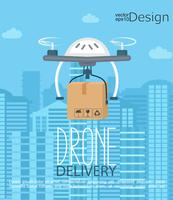 Concetto della consegna da parte del drone. vettore
