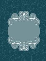Cornice decorativa vintage e bordi d'arte su blu scuro. Illustrazione EPS10 di vettore dell'iscrizione di calligrafia