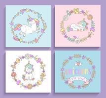 Set di carte magiche unicorni con cornici di cerchio. vettore