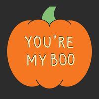Scheda di Halloween con zucche intagliate. Illustrazione vettoriale