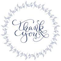 Le parole dell'iscrizione della mano vi ringraziano con la corona floreale disegnata a mano su fondo bianco. Calligrafia a mano, illustrazione vettoriale