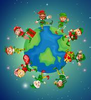 Un sacco di elfi sulla terra per la notte di Natale