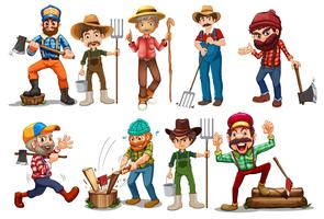 Agricoltori e boscaioli vettore