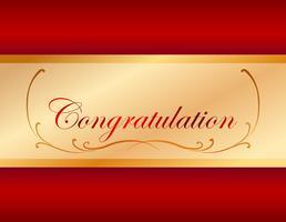 Modello di scheda di congratulazione con sfondo rosso