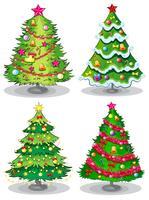 Quattro alberi di Natale decorati vettore