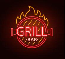 Segno al neon di grill bar. vettore
