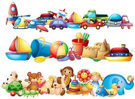 Set di diversi tipi di giocattoli