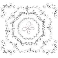 Set di cornici decorative vintage e angoli per il design. Illustrazione vettoriale EPS10