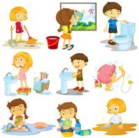 I bambini fanno diverse faccende