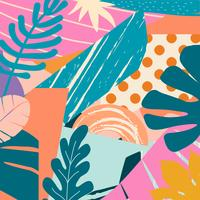 Fondo tropicale delle foglie e dei fiori della giungla