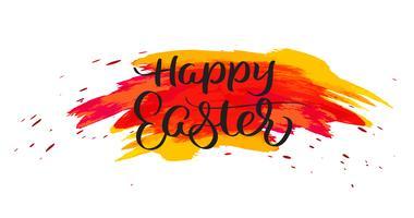 Testo di Pasqua felice su macchie rosse dell'acquerello. Illustrazione disegnata a mano EPS10 di vettore dell'iscrizione di calligrafia