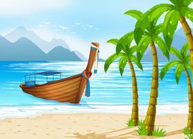 Spiaggia e barca vettore