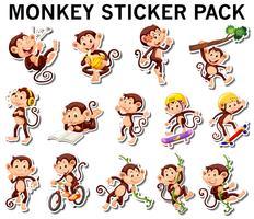 Set di adesivi scimmia in diversi post vettore
