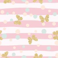 Modello senza cuciture dei coriandoli brillanti delle farfalle dell'oro su fondo a strisce rosa.