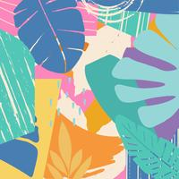 Fondo tropicale delle foglie e dei fiori della giungla vettore