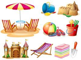 Spiaggia con posti a sedere e giocattoli