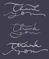 set di testo grazie su sfondo scuro. Illustrazione EPS10 di vettore dell'iscrizione di calligrafia