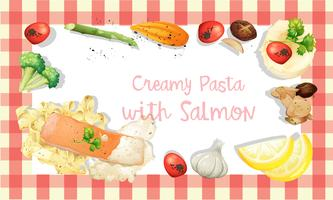 Modello di salsa di crema di salmone e pasta