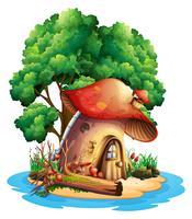 Casa dei funghi sull'isola vettore