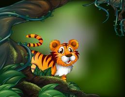 Una foresta pluviale con una tigre