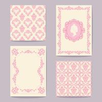 Impostare le collezioni di carte elementi di design vintage. Modelli, cornici