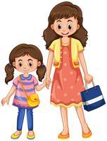 Tenersi per mano della figlia e della madre vettore