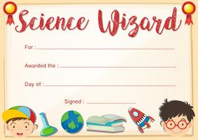 Modello di certificato per il mago della scienza
