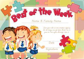 Modello di diploma con sfondo di tre bambini