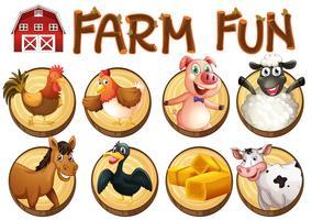 Animali da fattoria sui pulsanti rotondi vettore