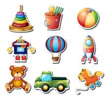 Set di adesivi di giocattoli vettore