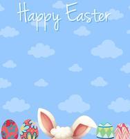Disegno del manifesto di Pasqua felice con uova e cielo blu