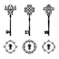 Le chiavi e i buchi della serratura dell'annata hanno messo nel colore nero isolato su bianco.