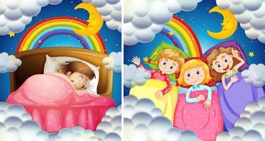 Una serie di ragazze che vanno a letto vettore