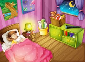 una ragazza e una camera da letto vettore