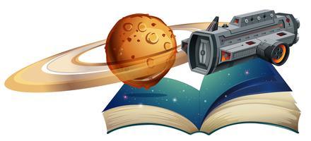 Astronave che vola attorno al pianeta vettore
