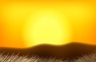 Un paesaggio tramonto arancione vettore