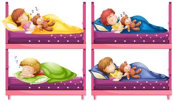 Quattro bambini che dormono nel letto a castello vettore