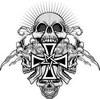 stemma del cranio del grunge vettore