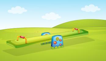 Uno sfondo altalena parco giochi vettore