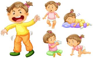 Ragazza bambino in diverse azioni