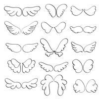 Set di ali d'angelo su uno sfondo bianco. Illustrazione EPS10 di vettore di calligrafia
