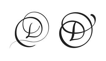 arte calligrafia lettera D con fiorire di spirali decorativi vintage. Illustrazione vettoriale EPS10