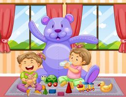 Due bambini che giocano con i giocattoli in camera vettore