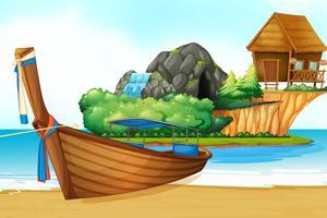 Scena di sfondo con barca di legno sulla riva vettore