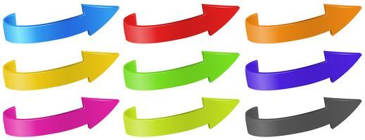 Frecce in diversi colori vettore