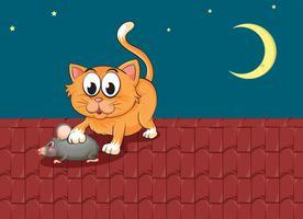 Un gatto e un topo sul tetto vettore