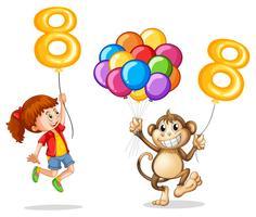 Ragazza e scimmia con palloncino numero otto
